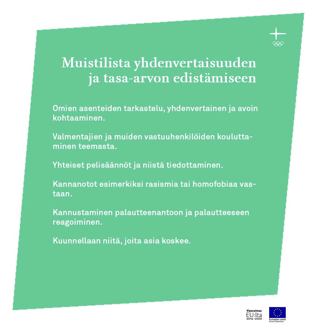 Heta Höltän muistilista yhdenvertaisuuden ja tasa-arvon edistämiseen.