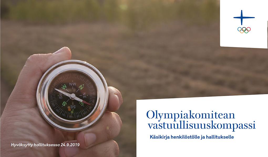 Suomen Olympiakomitean vuoden 2019 vastuullisuuskompassin kansi.