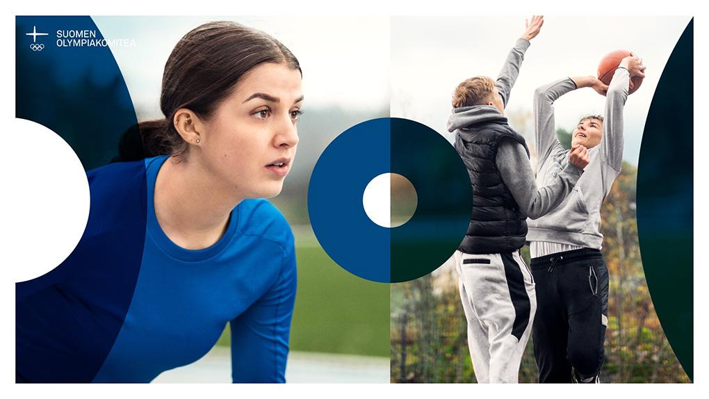 Kuvapari, jossa lähikuva urheilusuoritukseen valmistautuvasta nuoresta ja kahdesta vapaa-ajalla koripalloa pelaavasta nuoresta.