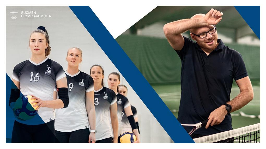 Kuvapari, jossa nuorten lentopallojoukkue valmiina menemään kentälle ja tenniksen pelaaja pyyhkii tyytyväisen näköisenä otsaansa.