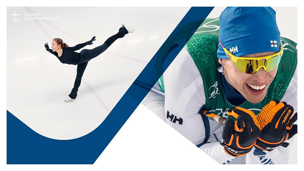Kuvapari, jossa luistelija liukuu jäällä ja hiihtäjä Iivo Niskanen alamäen laskuasennossa.