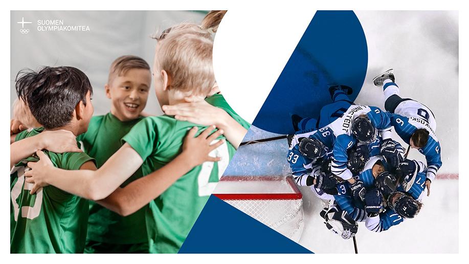Kuvapari, jossa lasten joukkue halaa iloisena toisiaan ja Suomen jääkiekkomaajoukkue halaa onnistumisen jälkeen toisiaan.