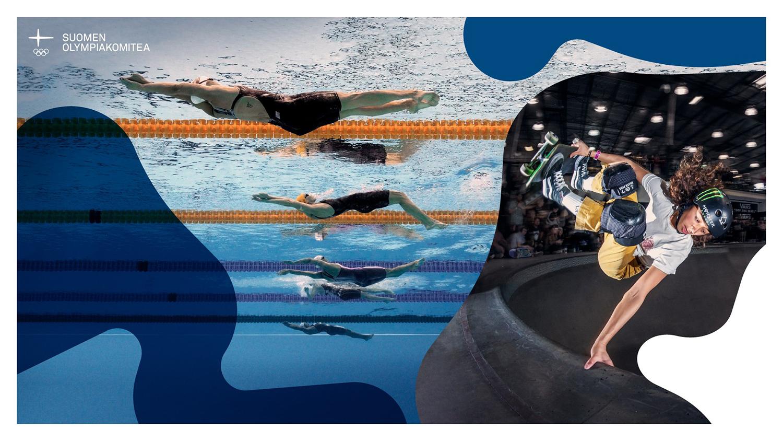 Kuvapari, jossa uimareita radalla ja skeittaaja ilmassa.