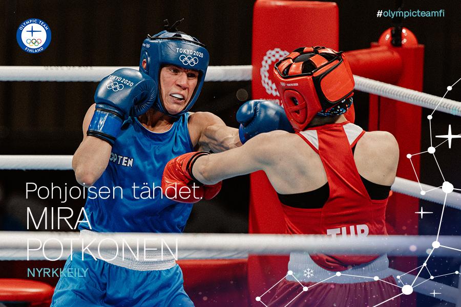 Mira Potkonen Tokion olympiakehässä.