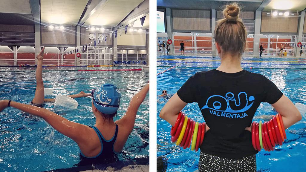 Yhdistelmäkuva, jossa Oulun uinnin taitouijia ja valmentaja kuvattuna harjoituksissa uimahallilla.
